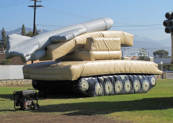 military tank inflatable with rocket attachment