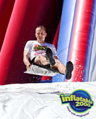 inflatable obstacle course for fun run water slide portion