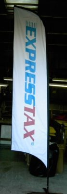promotional flags ExpressTax for tradeshow custom branding