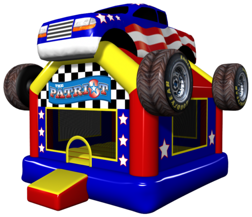the patriot bounce house with trucks, stars, and stripes